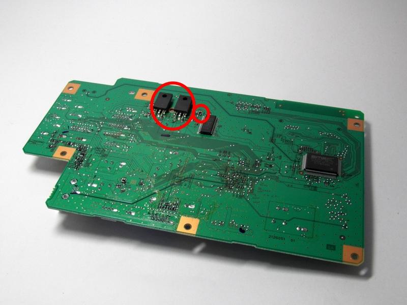 Предохранитель F2 и транзисторы ТТ3034, ТТ3043 в Epson Stylus Photo TX650
